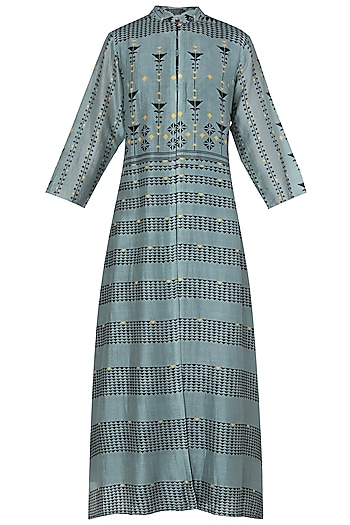 Blue and Green Printed Collar Dress by Soup by Sougat Paul