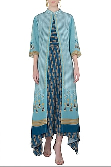 Light and Dark Blue Asymmetrical Tunic with A Contrast Overlay by Soup by Sougat Paul