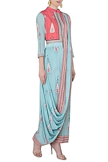 Pink and Blue Printed Draped Saree by Soup by Sougat Paul