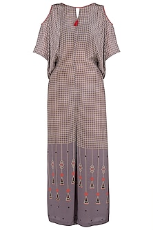 Brown Printed Jumpsuit by Soup by Sougat Paul