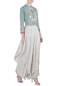 Off White Asymmetrical Flap Pants with Embroidered Jacket by Soup by Sougat Paul