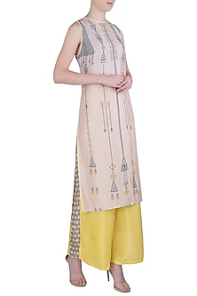 Pink and Yellow Printed Kurta Set by Soup by Sougat Paul