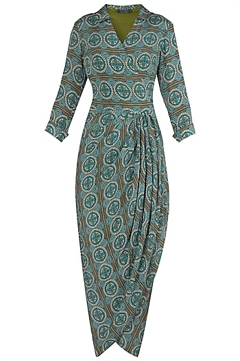 Green Printed Wrap Dress by Soup by Sougat Paul