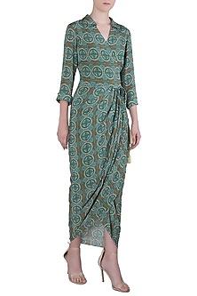 Green Printed Wrap Dress by Soup by Sougat Paul