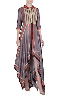 Multi Color Asymmetrical Collar Dress by Soup by Sougat Paul