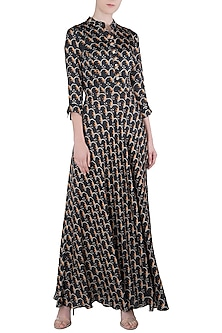 Black A-Line Printed Dress by Soup by Sougat Paul