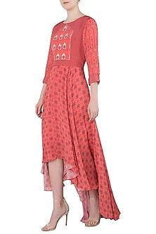 Peach Asymmetrical Printed Maxi Dress by Soup by Sougat Paul