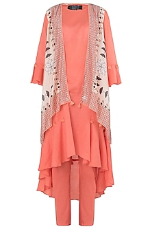 Peach Asymmetrical Kurta with Printed Jacket and Straight Pants by Soup by Sougat Paul