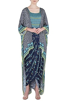 Blue Printed Drape Maxi Dress with Asymmetrical Cape by Soup by Sougat Paul