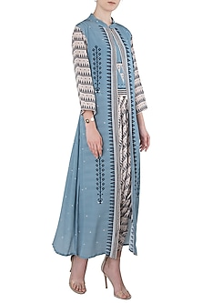 Blue and White Crop Top with Printed Overlay and Dhoti Pants by Soup by Sougat Paul