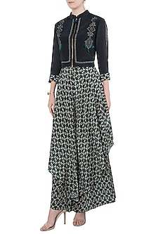 Black and Green Jacket with Printed Layered Pants by Soup by Sougat Paul