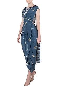 Blue Printed Drape Saree by Soup by Sougat Paul