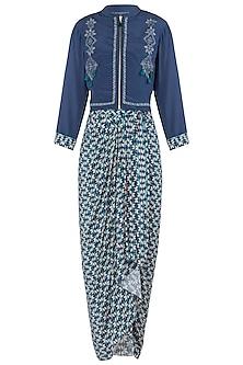 Blue Jacket with Drape Maxi Dress by Soup by Sougat Paul