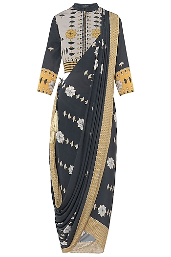 Charcoal Grey and Yellow Printed Saree with Jacket Blouse by Soup by Sougat Paul