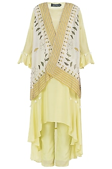 Yellow Kurta With Pants And Jacket by Soup By Sougat Paul