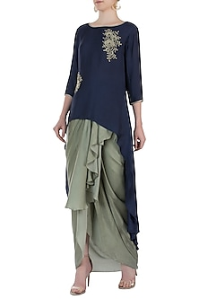 Blue Embroidered Jacket With Skirt by Soup By Sougat Paul