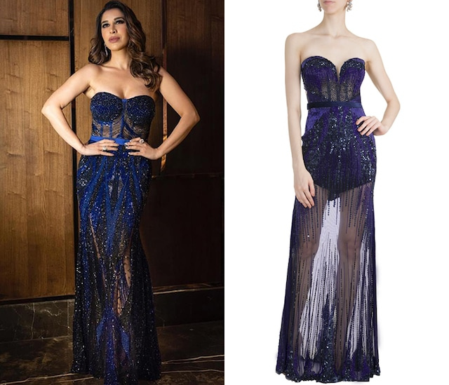 Blue Embellished Gown by Gavin Miguel
