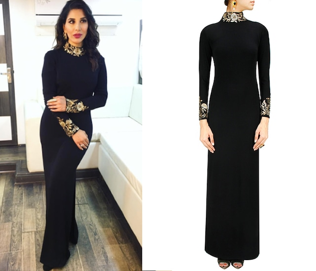 Black sequins embroidered royal fitted gown by Namrata Joshipura