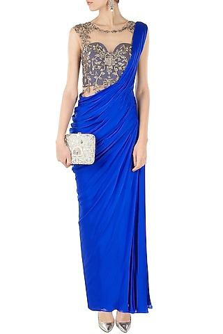 Royal blue embroidered sari gown by Sonaakshi Raaj