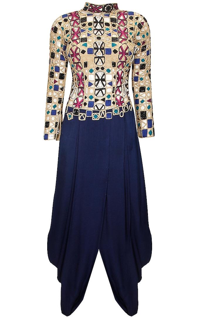 Midnight blue dhoti gown by Sonaakshi Raaj