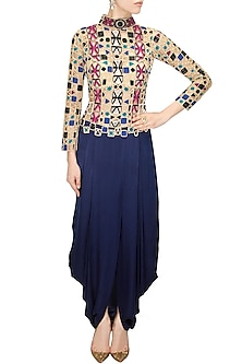 Midnight blue dhoti gown by Sonaakshi Raaj