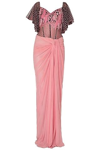 Baby Pink Off Shoulder Saree Gown by Sonaakshi Raaj