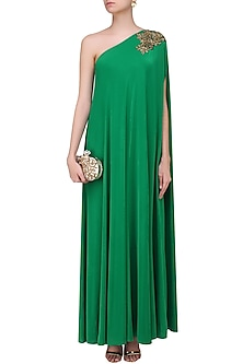 Emerald Green Embroidered Rose Motifs One Shoulder Flowy Gown by Sonaakshi Raaj