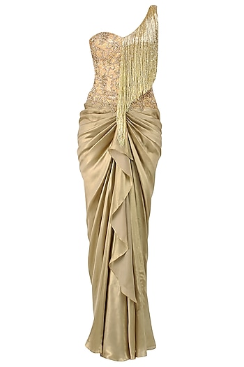 Gold Floral Work and Tassel Fringes One Shoulder Gown by Sonaakshi Raaj