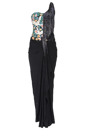 Grey and Black Floral Work and Tassel Fringes One Shoulder Gown by Sonaakshi Raaj