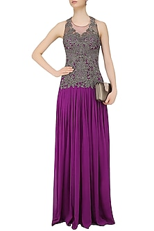 Plum Gunmetal Beads Embroidered Palazzo Jumpsuit by Sonaakshi Raaj