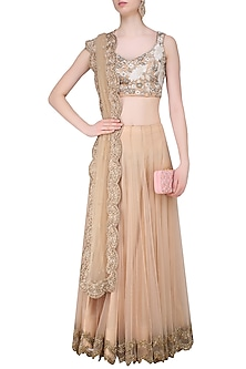 Nude Floral Thread and Beads Embroidered Lehenga Set by Sonaakshi Raaj