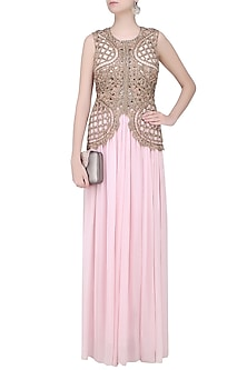 Baby Pink Cutwork Pearl Embroidered Palazzo Jumpsuit by Sonaakshi Raaj