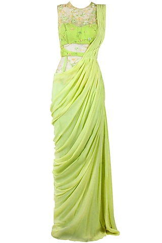 Lime green floral embroidered pre stitched sari-gown by Sonaakshi Raaj