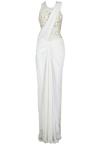 White embroidered fringe pallu pre stitched sari-gown by Sonaakshi Raaj