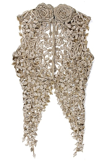 Gold embroidered cutwork jacket by Sonaakshi Raaj