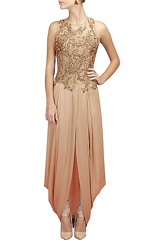 Gold embroidered pre stitch dhoti gown with churidaar by Sonaakshi Raaj