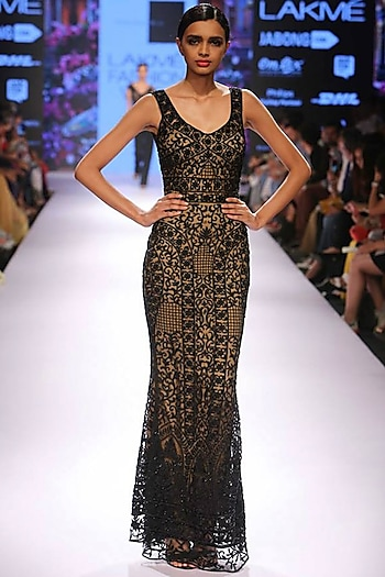 Black and nude embroidered gown by Sonaakshi Raaj