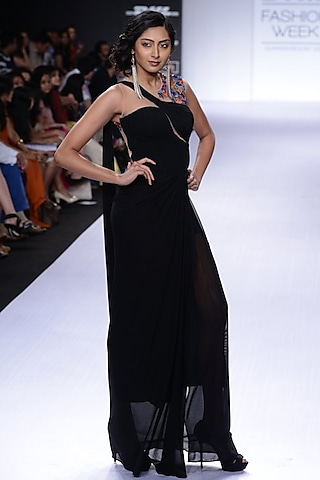 Black sari-gown with multicolour embroidery by Sonaakshi Raaj