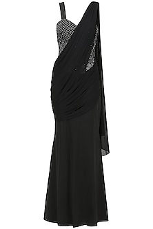 Black Saree Gown In Lycra and Cotton Satin by Sonaakshi Raaj