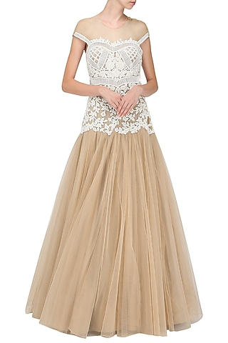 Nude & White Off Shoulder Flounce Gown In Cotton Satin by Sonaakshi Raaj