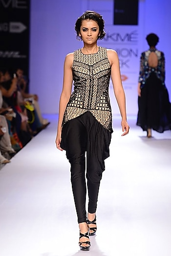 Nude and black embroidered jacket with cowl pants by Sonaakshi Raaj