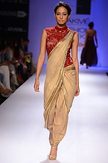 Gold with red embroidery dhoti sari gown by Sonaakshi Raaj