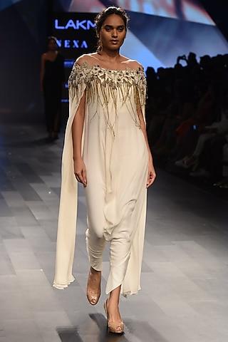 White Off Shoulder Slit Sleeves Jumpsuit by Sonaakshi Raaj