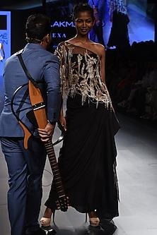 Black One Shoulder Top, Bustier and Draped Skirt Set by Sonaakshi Raaj