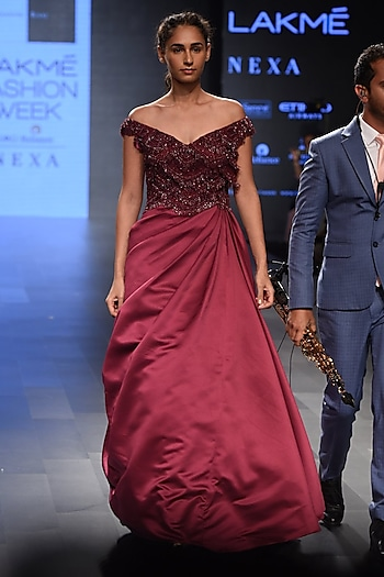 Wine Embroidered Off Shoulder Flounce Gown by Sonaakshi Raaj
