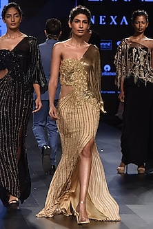 Gold One Shoulder Fitted Mesh Sleeves Gown by Sonaakshi Raaj