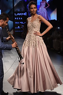 Mauve Floral Embroidered Flounce Gown by Sonaakshi Raaj
