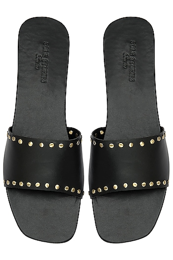 Black Rivets Sliders by Sole Stories