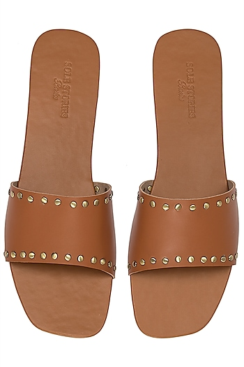 Tan Rivets Sliders by Sole Stories
