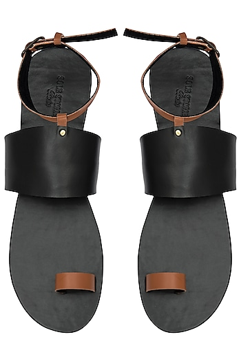 Black and Tan Ankle Sandals by Sole Stories